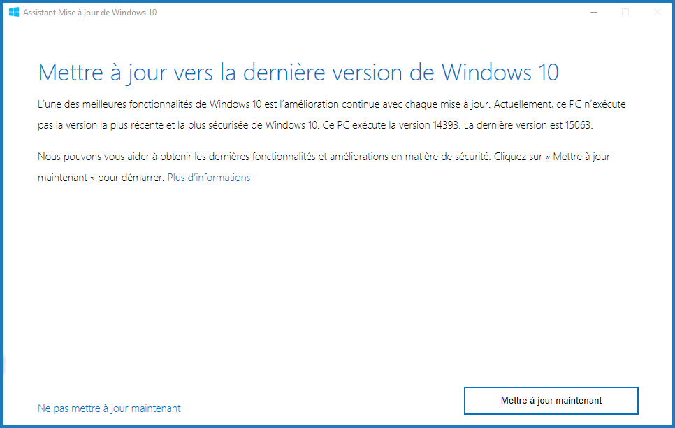 assistant de rechargement de mise à jour Windows 10