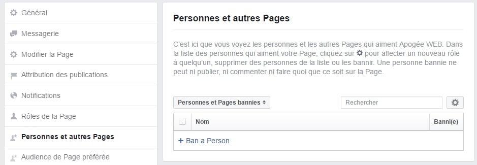 Bannir un utilisateur de votre page facebook professionnelle