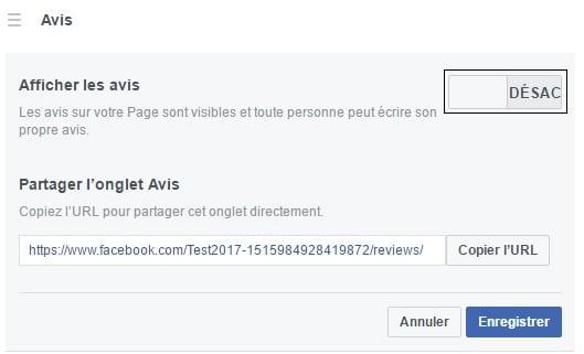 Désactiver les avis de votre page facebook professionnelle