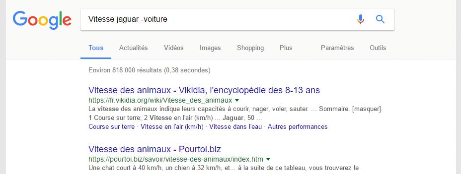 exclure mot recherche google