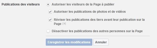 Réglage de la partie publications des visiteurs sur la page facebook professionnelle option 1