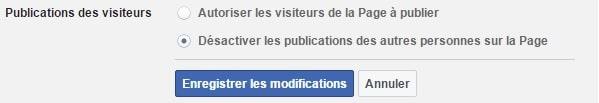Réglage de la partie publications des visiteurs sur la page facebook professionnelle option 2