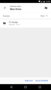 sélection du dossier de destination dans Google drive