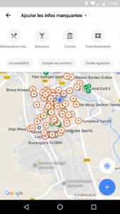 capture d'écran Google Maps entreprise manquant de visibilité