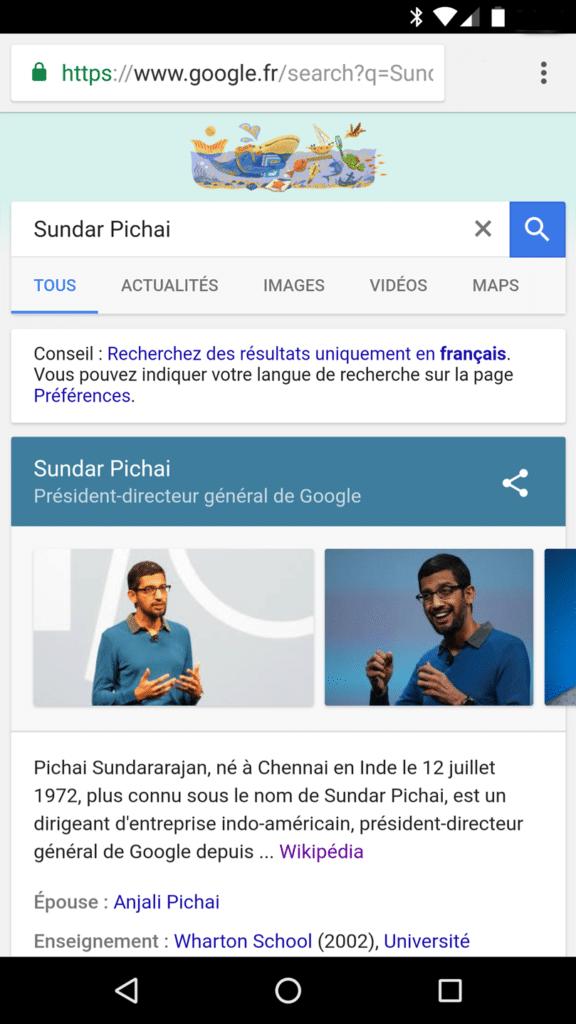 Le moteur de réponse Google propose des biographies sur des personnalités