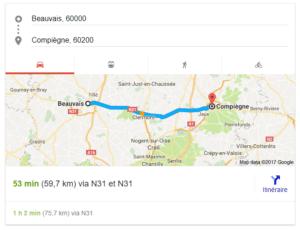 déterminer le temps de parcours entre deux villes