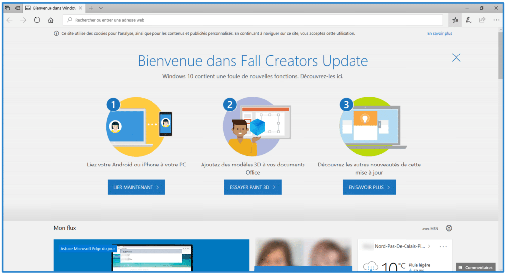 windows 10 fall creators update page de bienvenue