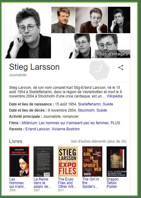 """Compliation de données """" carte de la connaissance"""" sur le romancier Stieg Larsson"""