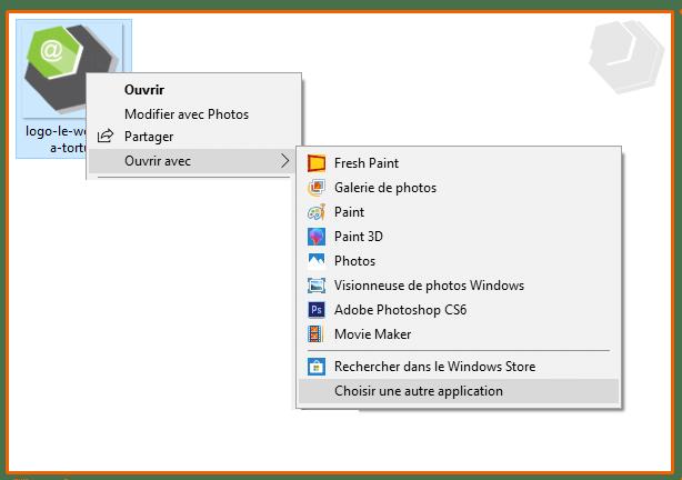 sélectionnez une application ou logiciel depuis le menu contextuel de al souris