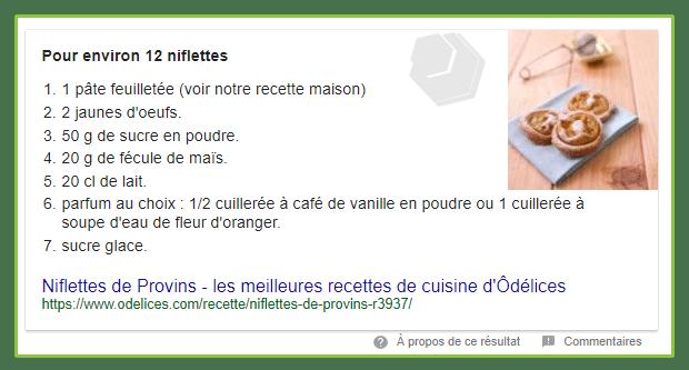 recherche de la recette des niflettes
