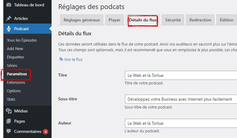 Remplir les détails de votre flux sur Seriously simple podcasting